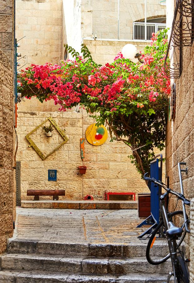 Ancient Alley in Jewish Quarter, Jerusalem. Israel. Photo in old color image style. City, historic, architecture, landmark, tourism, history, middle, israeli stock photo