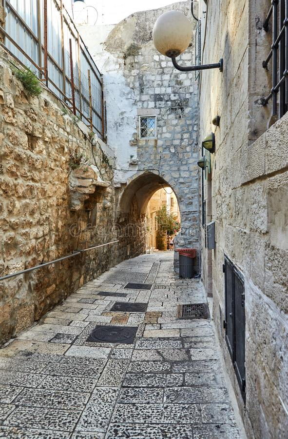 Ancient Alley in Jewish Quarter, Jerusalem. Israel. Photo in old color image style. City, historic, architecture, landmark, tourism, history, middle, israeli royalty free stock photo