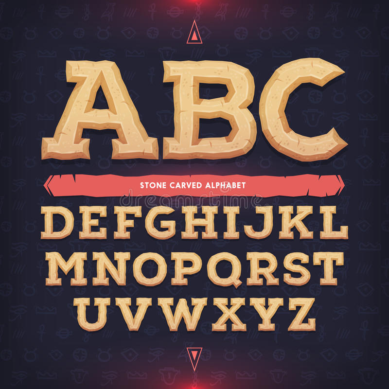 Ancient alphabet. Memorial typeface. Carved from stone abc. Vector illustration.  stock illustration