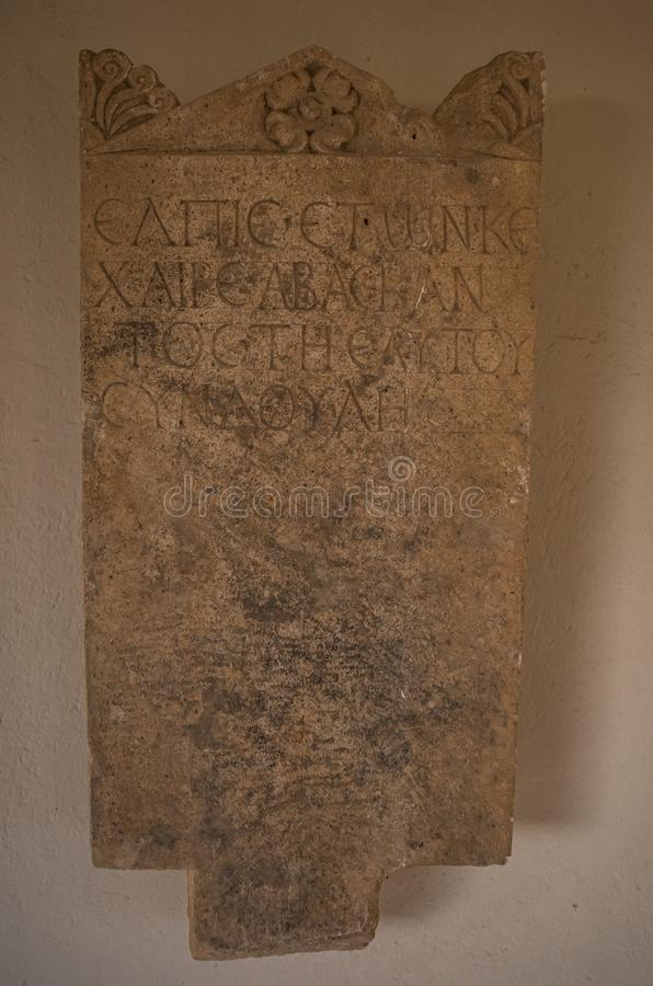 Ancient altar with roman inscriptions.  stock photos