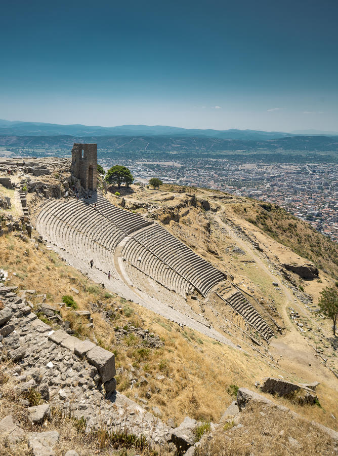 Ancient amphitheater in Acropolis of Pergamum stock photography