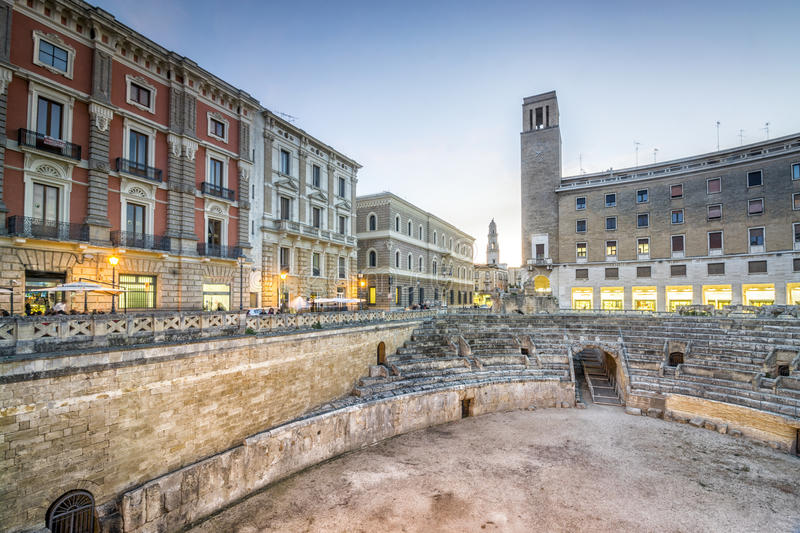 Ancient amphitheater in Lecce, Italy. Ancient amphitheater in city center of Lecce, Puglia, Italy stock photography