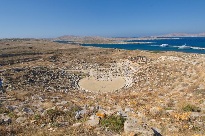 Ancient Amphitheatre, Delos Island, Greece Stock Images