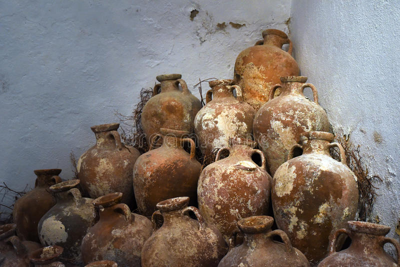 Ancient Amphoras in Bodrum Castle stock photo