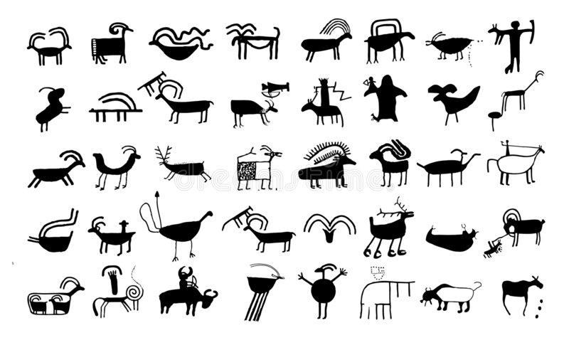 Ancient animal drawings and sy royalty free stock image