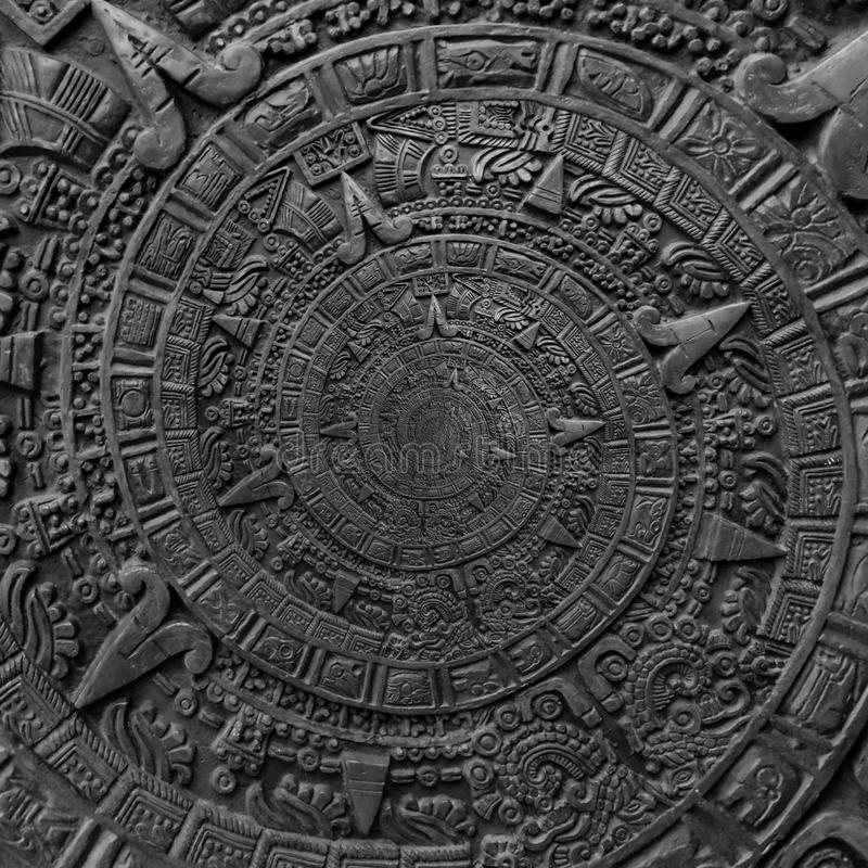 Ancient antique classical spiral aztec ornament pattern decoration design background. Abstract texture fractal CCW spiral backgrou. Nd. Black and white spiral royalty free stock images