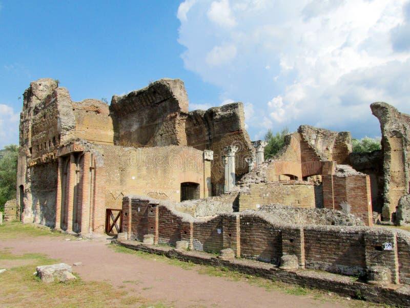 Ancient antique ruins of Villa Adriana, Tivoli Rome. Ancient antique ruins of Villa Adriana in Tivoli near Rome, Italy. The ancient roman ruins of building royalty free stock image