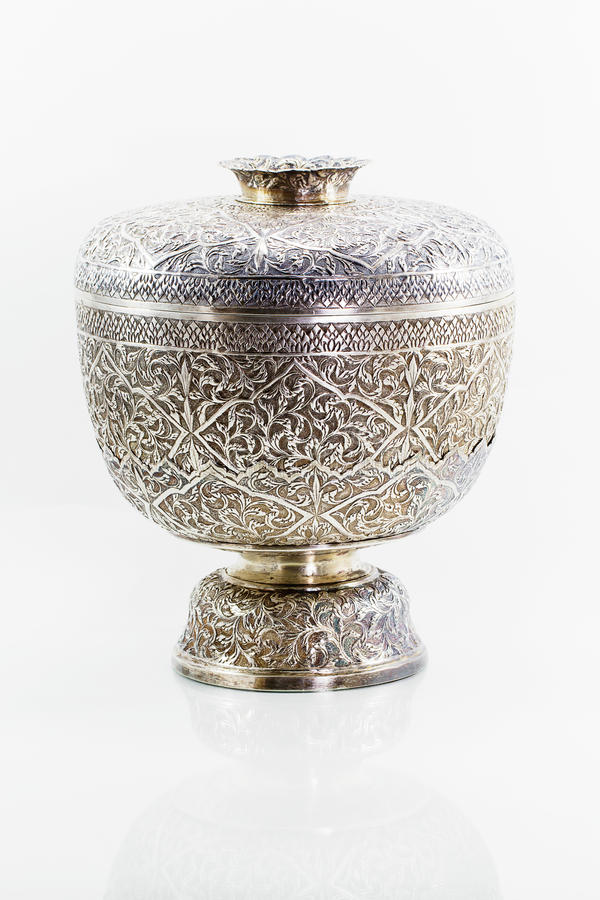 Ancient antique silver Thai bowl on white background royalty free stock photography