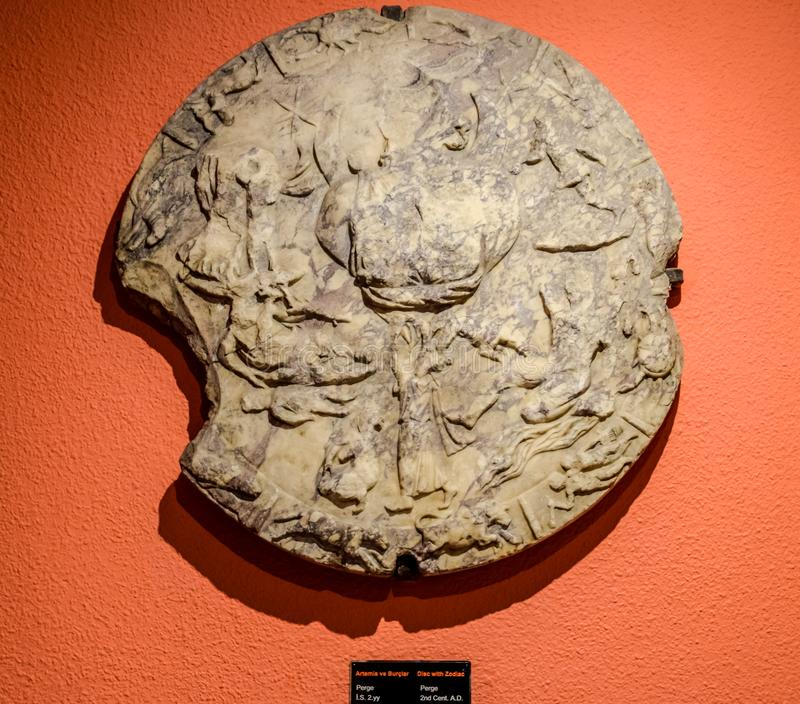 Ancient Antique Zodiac Disc, Signs of the Zodiac royalty free stock photo