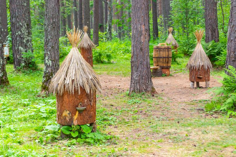 An ancient apiary with artificial hives made of straw and tree b royalty free stock image