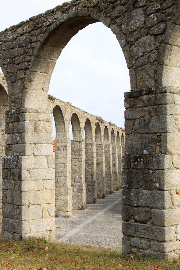 The ancient aqueduct of Vila do Conde, Portugal. The aqueduct in the Portuguese town of Vila do Conde, constructed between 1705-1714 and originally supported by stock photography