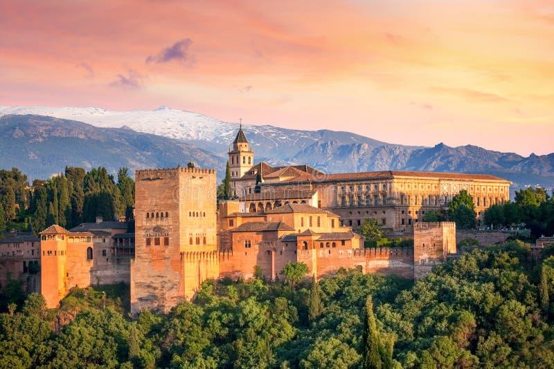 Ancient arabic fortress Alhambra at the beautiful evening time. Granada, Spain, European travel landmark stock image