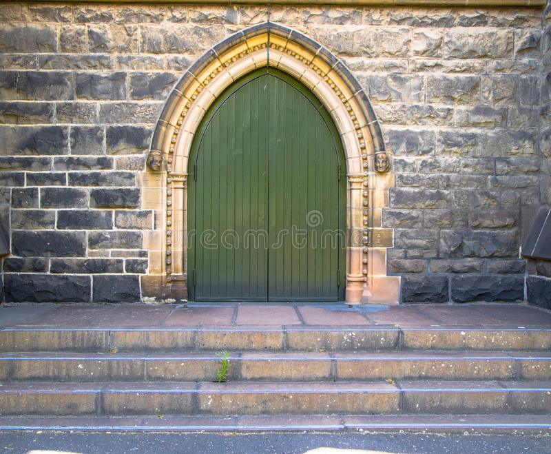 Main entrance door to a church or cathedral in Europe stock photos