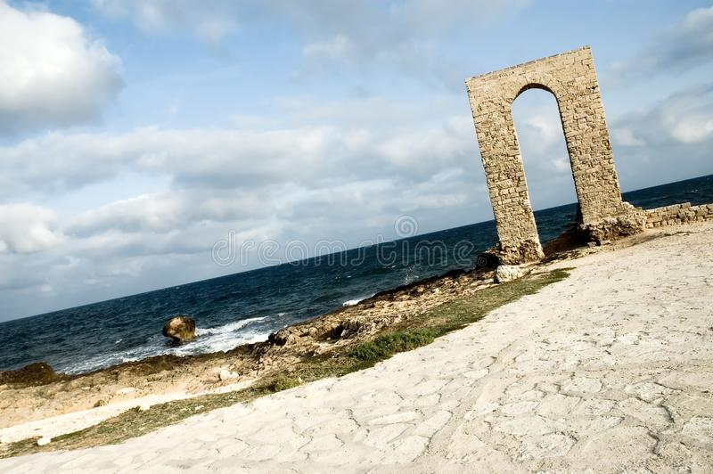 Download Ancient Arch - Ruins Over Seashore - Dynamic View Stock Image - Image: 1463471