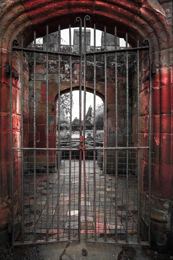 Ancient Arched Gated Entrance Medieval Building stock photos