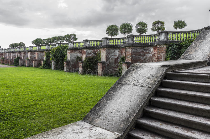 Ancient architectural ruins. Stairs and ancient architectural ruins of the Baroque stock photography