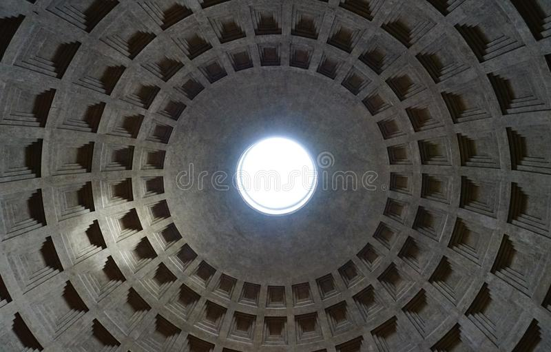 Rome, Italy - May 3, 2019: Pantheon oculus light royalty free stock photography