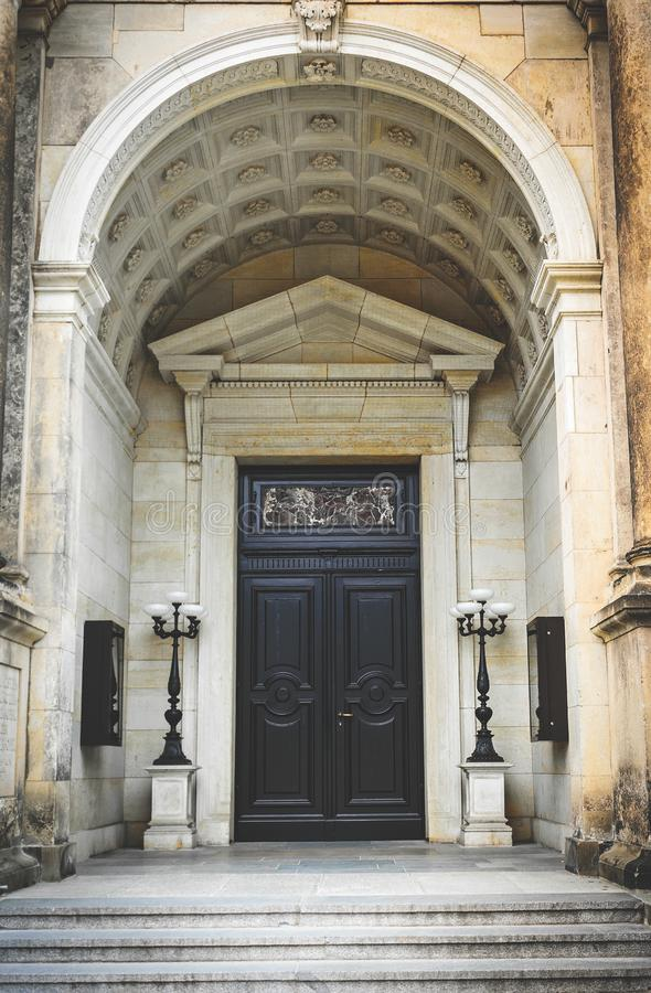 Ancient architecture of Germany. The door of a luxurious antique building stock image