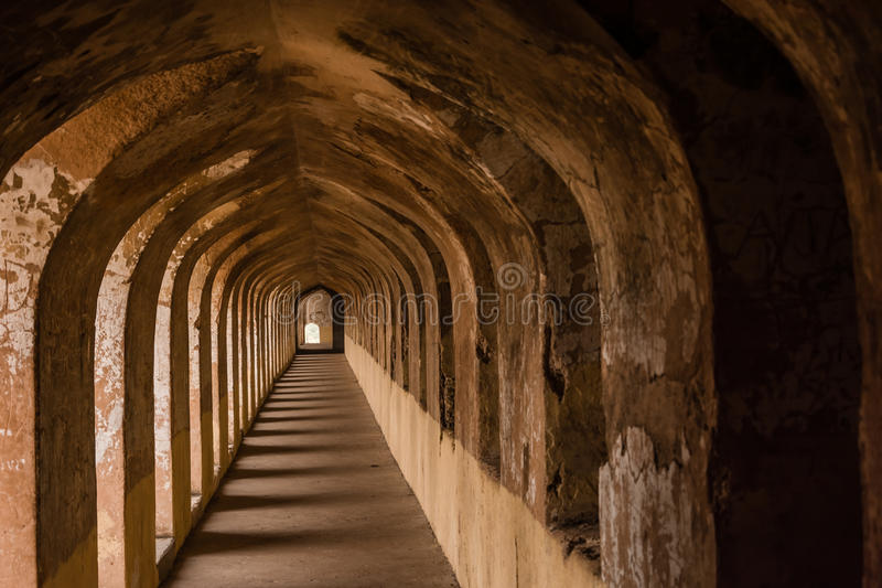 Ancient architecture. Historic ancient aechitecture of lucknow bada imambada inside wall in bhul bhulaiya royalty free stock image