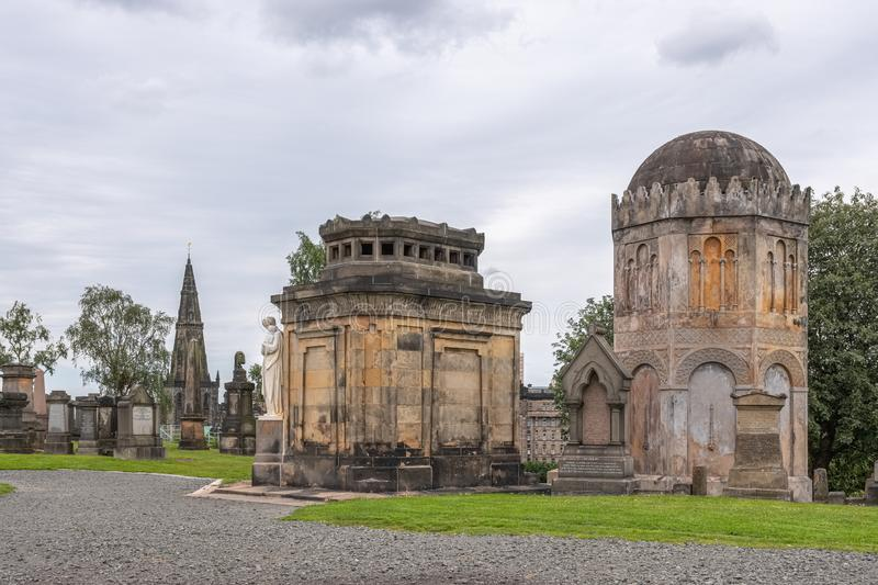 Ancient Architecture and monuments to the dead at Glasgow Necropolis is a Victorian cemetery in Glasgow and is a prominent feature stock photography