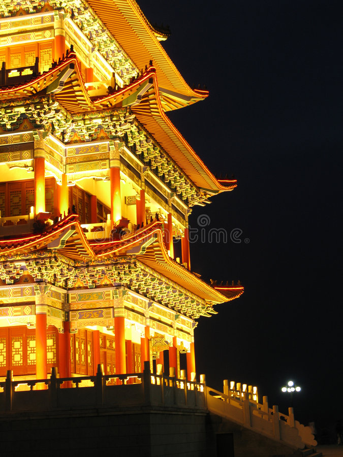 Ancient Architecture Night lights stock images