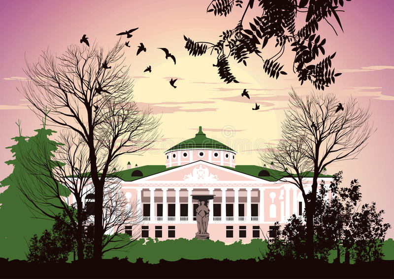 Ancient architecture in the park royalty free illustration