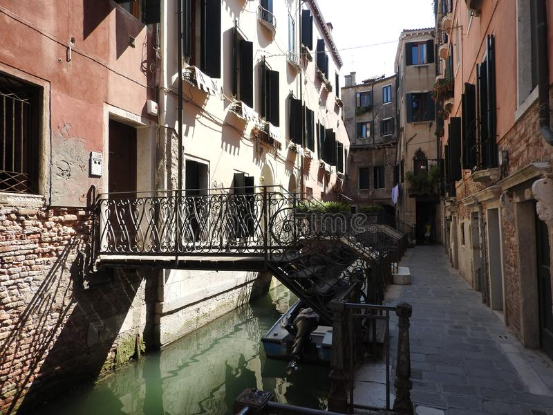 Ancient architecture of stone walls of Venice, Italy stock photo
