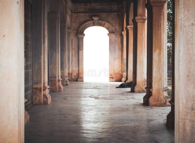 An ancient archway with light royalty free stock images