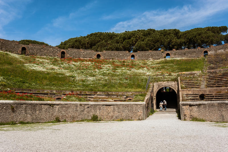 Ancient Arena of the Amphitheatre in Pompeii, Italy royalty free stock photos