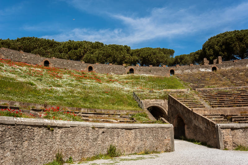Ancient Arena of the Amphitheatre in Pompeii, Italy royalty free stock photography