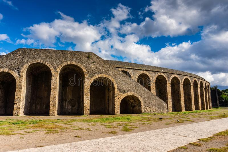 Ancient arena in the ruins of Pompeii. Italy royalty free stock photos