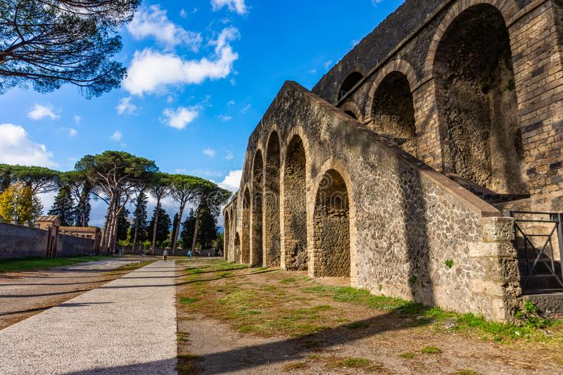 Ancient arena in the ruins of Pompeii. Italy landmark amphitheater stage vesuvius architecture building eruption heritage italian old roman stone tourism stock image