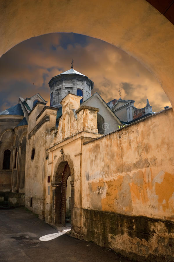 Ancient Armenian church. 14 - 17 centuries in Lvov. Ukraine royalty free stock photos