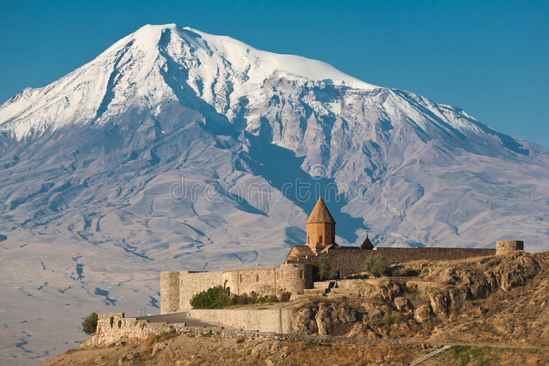 Ancient Armenian church Khor Virap. With Ararat on the background royalty free stock photography