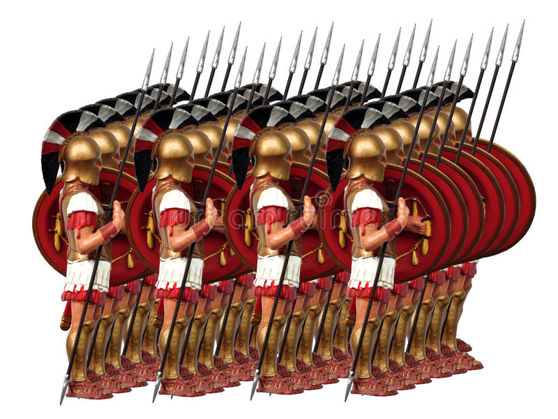 Ancient army. Of greek warriors isolated stock illustration