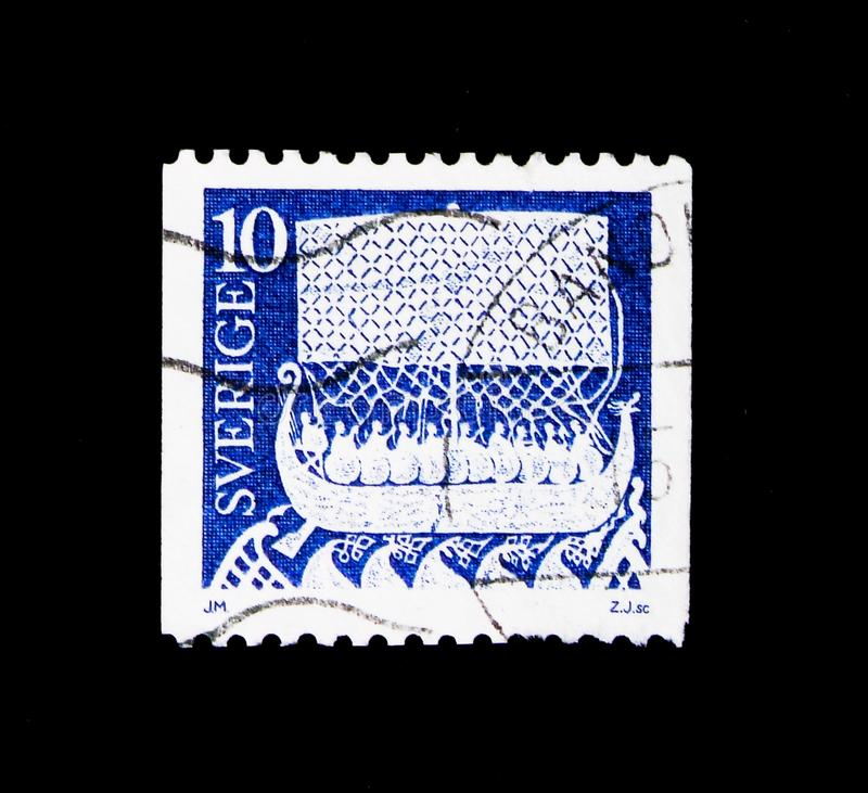 Ancient Art, serie, circa 1977. MOSCOW, RUSSIA - NOVEMBER 23, 2017: A stamp printed in Sweden shows Ancient Art, serie, circa 1977 stock image