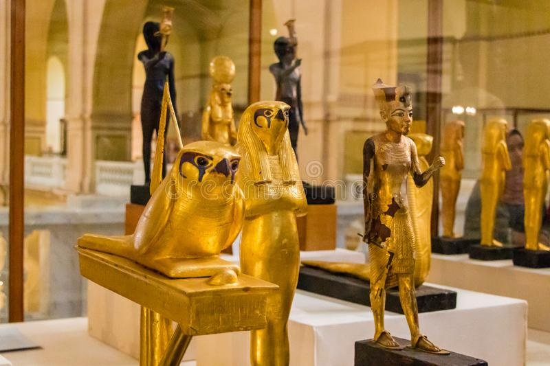 Ancient artifacts in the Egyptian museum, Cairo royalty free stock image