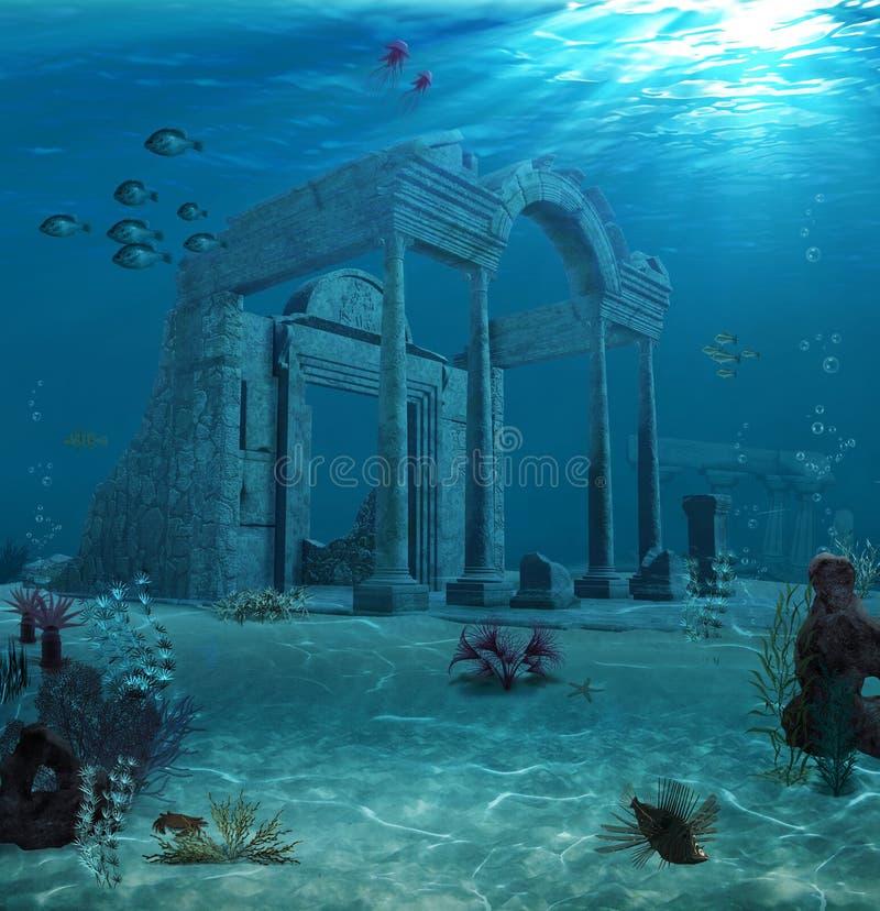 Ancient Atlantis Ruins Underwater. 3d illustration of the sunken ruins of an ancient Atlantis type civilization stock illustration