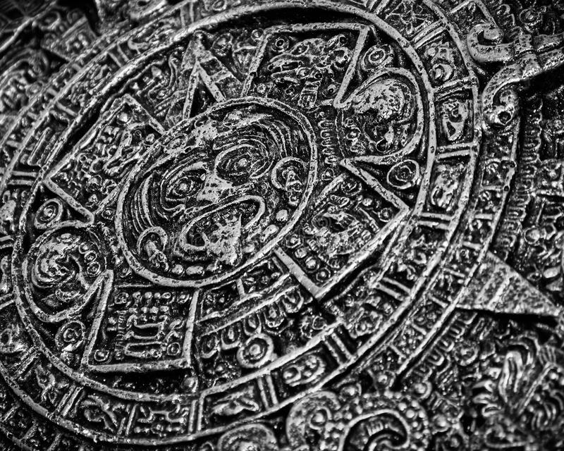 Ancient Aztec Calendar which was once used by native North Americans. Monochrome. An ancient Aztec calendar which was once used by native North American people stock image