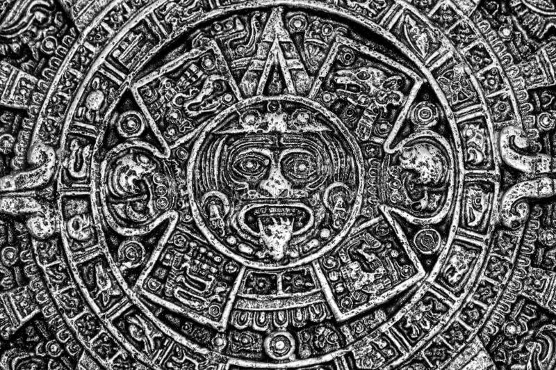 Ancient Aztec Calendar which was once used by native North Americans. Monochrome. An ancient Aztec calendar which was once used by native North American people stock photos