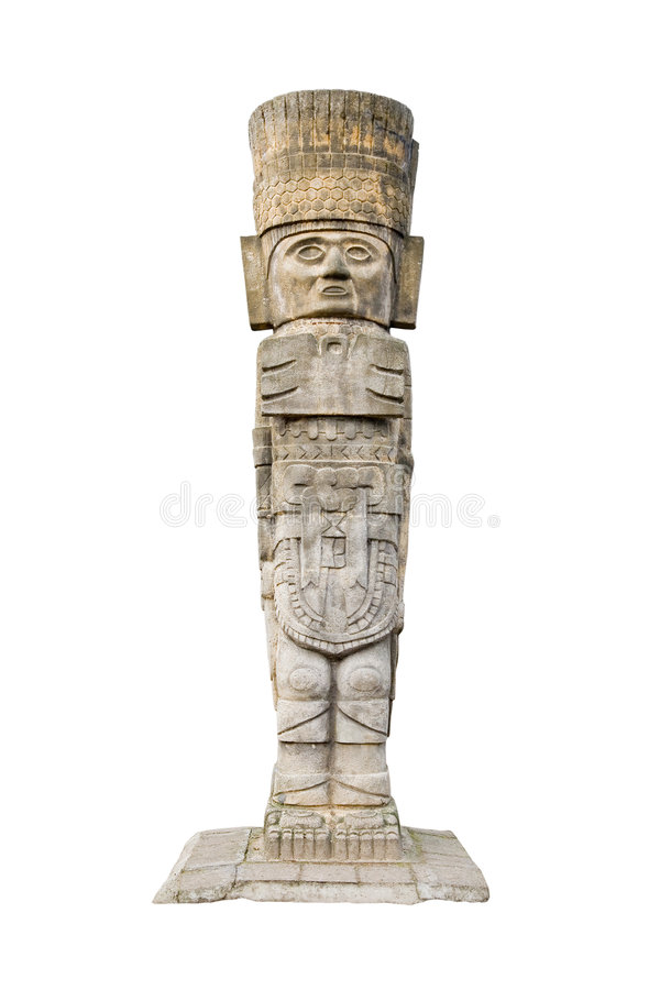 Ancient aztec statue. Isolated on white background stock photo