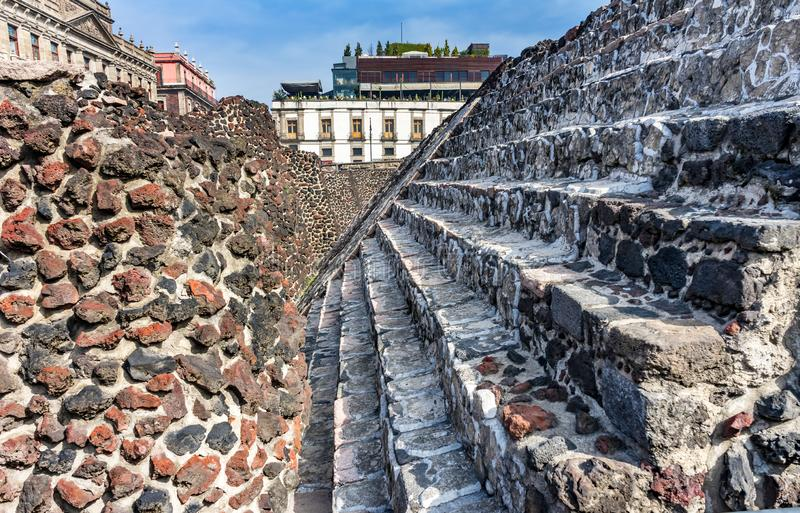 Ancient Aztec Stone Steps Templo Mayor Mexico City Mexico royalty free stock image