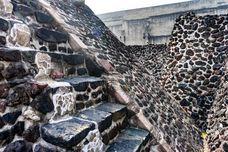 Ancient Aztec Stone Steps Templo Mayor Mexico City Mexico royalty free stock photo