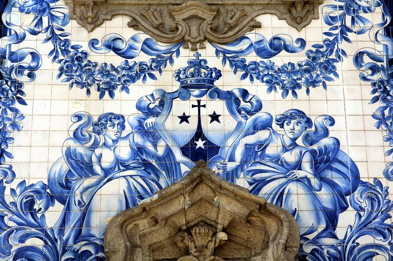 Ancient Azulejo in the city of Porto, Portugal. stock images