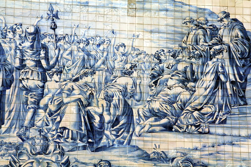 Ancient Azulejo in the city of Porto, Portugal. royalty free stock photos