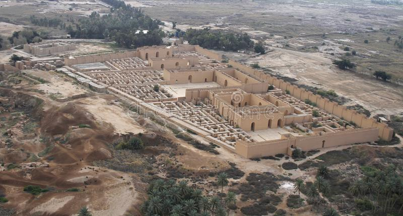 Ancient Babylon in Iraq from air. Restored ruins of the South palace of Nebuchadnezzar in ancient Babylon, Iraq on the right. Ruins of the North palace damaged royalty free stock photos