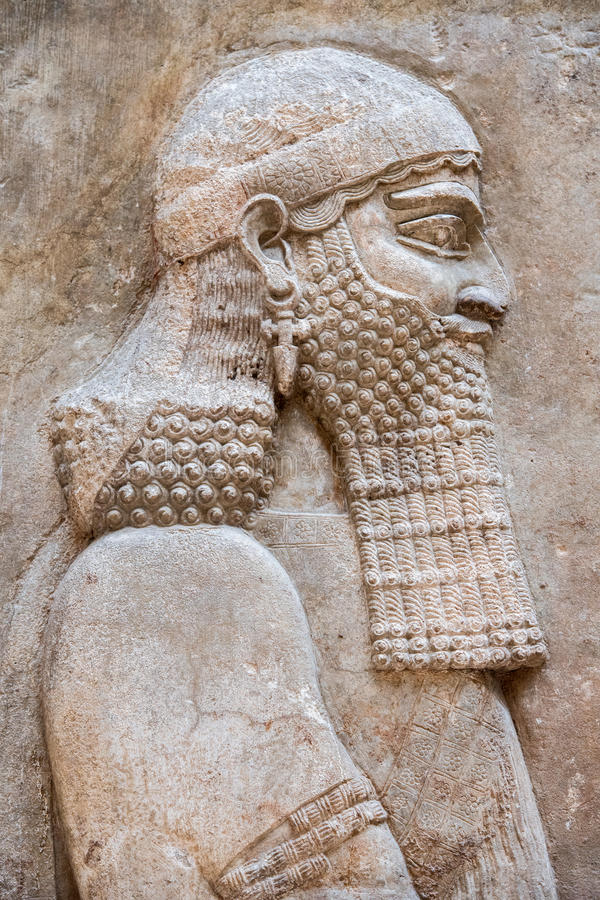 Ancient babylonia and assyria bas relief stock image