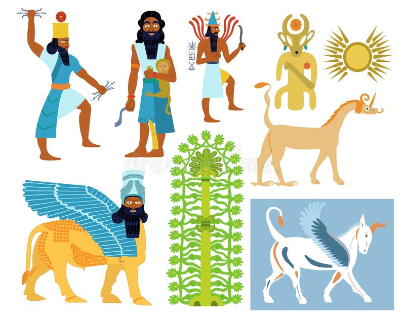 Ancient Babylonian gods, creatures and symbols. A set of 9 Ancient Babylonian gods illustrations including tree of life, creatures and symbols stock illustration