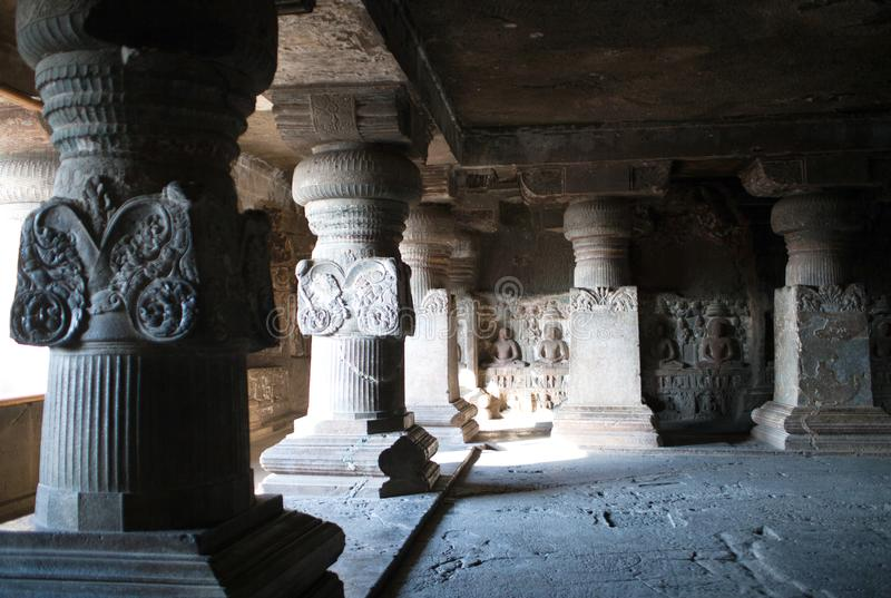Ancient stone columns in Ellora caves, India stock images