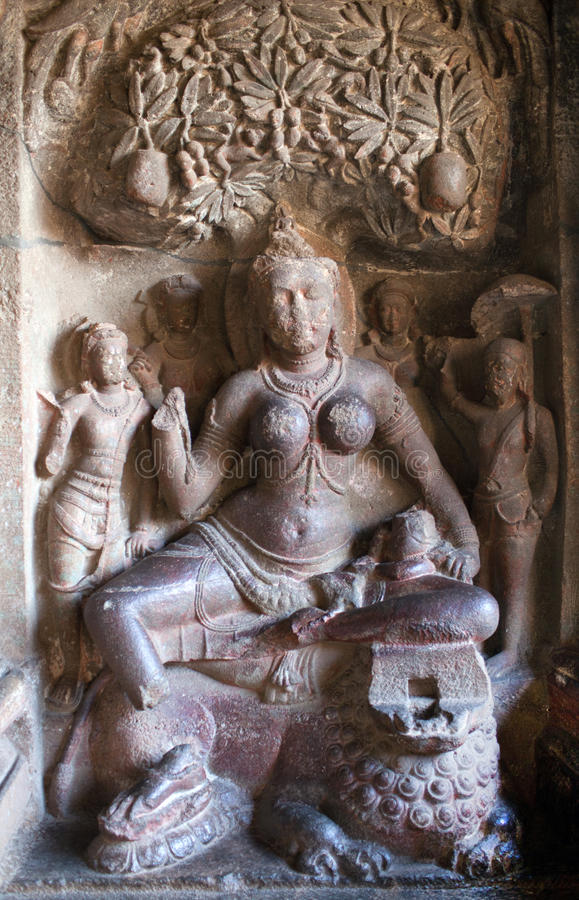Ancient bas-relief in Ellora caves, India stock image